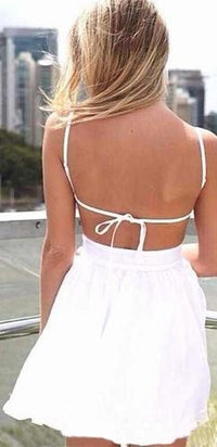 White Spaghetti Strap V Neck Backless Chiffon Ruffle Trim Skater Circle A Line Flare Mini Dress - Sold Out