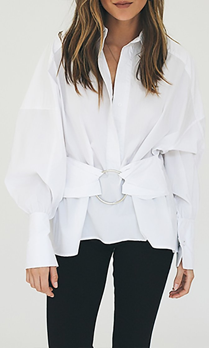 Crisp And Confident White Long Balloon Sleeve V Neck Belt Blouse Top
