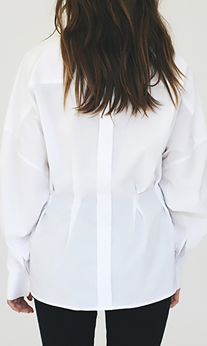 Crisp And Confident White Long Balloon Sleeve V Neck Belt Blouse Top - Sold Out