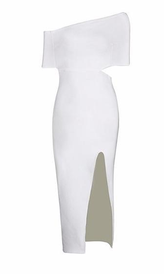 Head Of The Class White Asymmetric Off The Shoulder Cut Out Side High Slit Bodycon Bandage Midi Dress