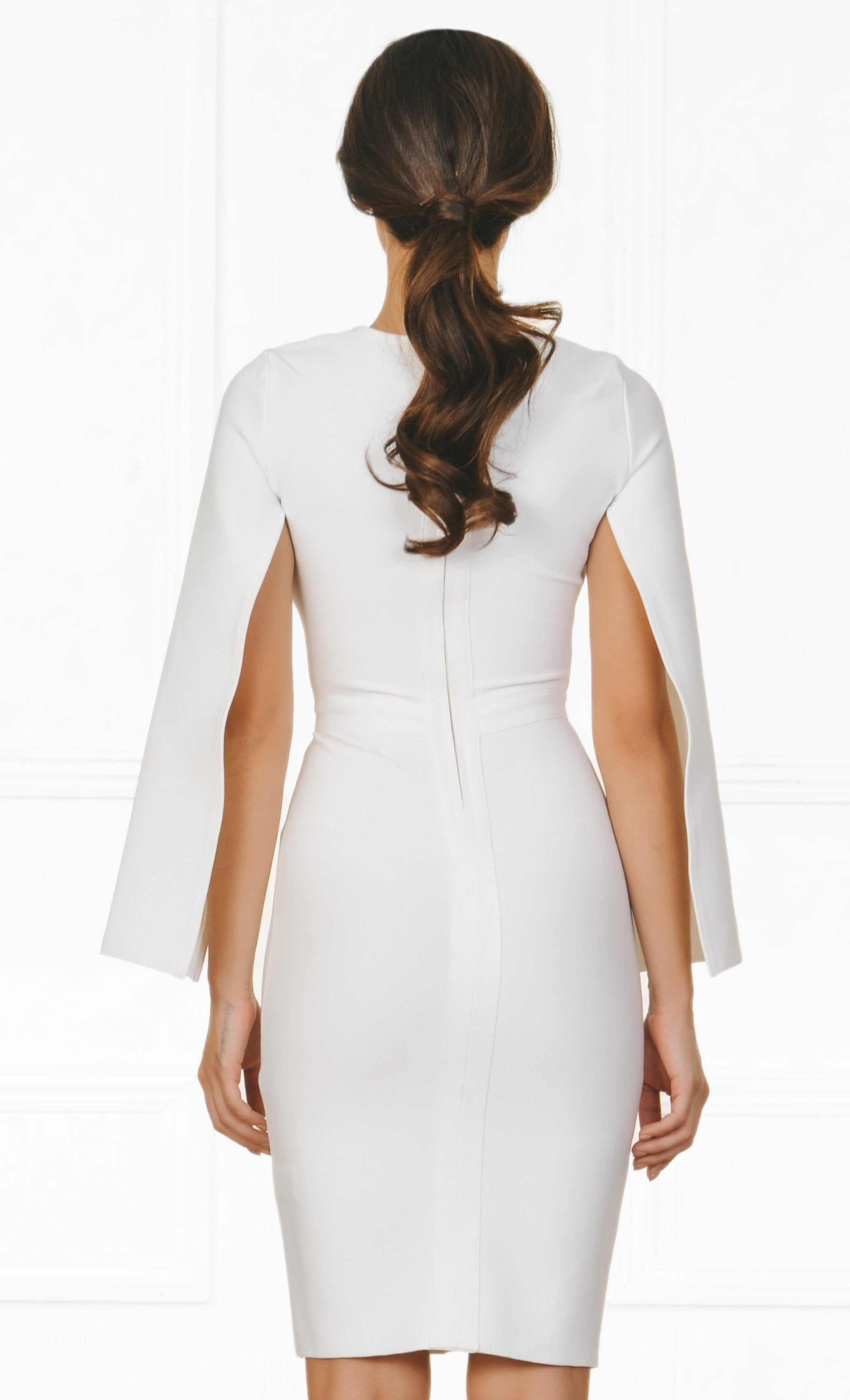 Indie XO Midnight Scandal White Long Slit Sleeve Scoop Neck Bandage Bodycon Cape Midi Dress - Sold Out