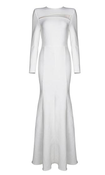 Uptown Angel White Long Sleeve Cut Out Front Crew Neck Fit and Flare Bandage Maxi Dress