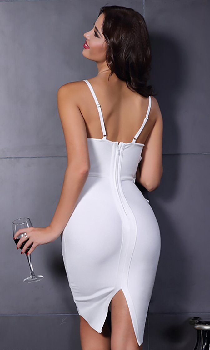 Lucky Stars White Sleeveless Spaghetti Strap Sequin Embellished Appliqué Waist Plunge V Neck Bandage Bodycon Midi Dress