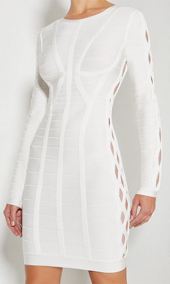 Mission Impossible White Long Sleeve Scoop Neck Cut Out Bodycon Bandage Mini Dress