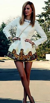 White Brown Long Sleeve Scoop Neck Beaded Floral Vintage Print Hem Pleated Flare Mini Dress - Sold Out