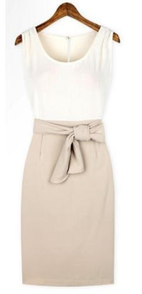 White Beige Black Sleeveless Scoop Neck Slit Back Two Tone Bow Pencil Midi Dress - Sold Out