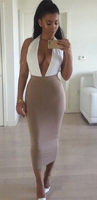 Fresh Act White Beige Sleeveless Plunge V Neck Backless Halter Bodycon Midi Dress - Sold Out