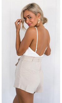 Safari Trip White Beige Spaghetti Strap V Neck Tie Waist Romper Playsuit- Sold Out