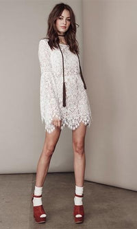 Poetry In Motion White Scallop Lace Long Bell Sleeve Scoop Neck Embroidered Mini Shift Dress- Sold Out