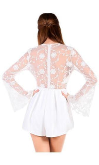 Sweet Seduction White Sheer Floral Lace Long Bell Sleeve Plunge V Neck Romper Playsuit - Sold out