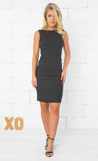 Indie XO Betty Believe It Black White Polka Dot Open Back Sleeveless Fitted Midi Dress -Just Ours! - Sold Out