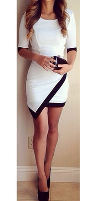 White Black Trim 3/4 Elbow Sleeve Asymmetrical Contrast Scoop Neck Bodycon Mini Dress - Sold out