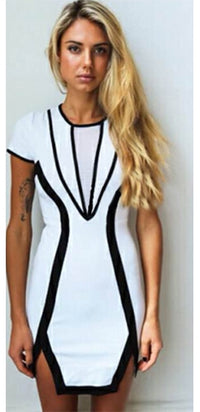 White Black Trim Short Sleeve Crew Neck Bodycon Mini Dress - Sold Out