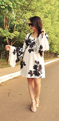 Free Your Mind White Black Floral Long Bell Sleeve Scoop Neck Lace Trim Cut Out Loose Mini Dress - Sold Out