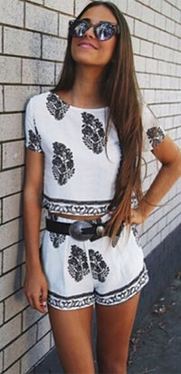 No Time Like the Present White Black Floral Short Sleeve Scoop Neck Crop Top Pleated Shorts Two Piece Romper - Sold Out