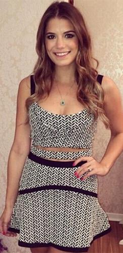 Lips Are Movin' White Black Geometric Sleeveless Scoop Neck Cut Out Crop Tank Skater Circle Flare Skirt Two Piece Mini Dress - Sold Out