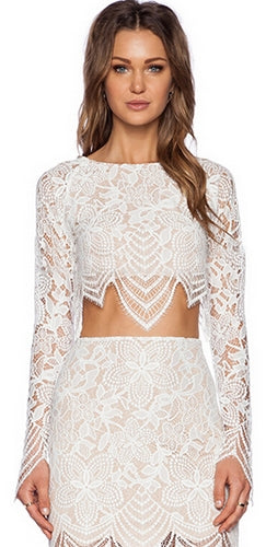 Lady Nightshade White Black Lace Long Sleeve Boat Neck Scallop Crop Top Blouse - Sold Out