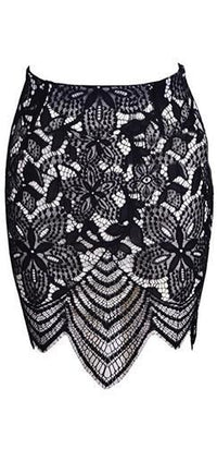 White Black Scallop Lace Bodycon Mini Skirt - Sold Out