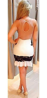 White Black Sheer Mesh Lace Sleeveless Scoop Neck Keyhole Back Ruffle Bodycon Mini Dress - Sold Out