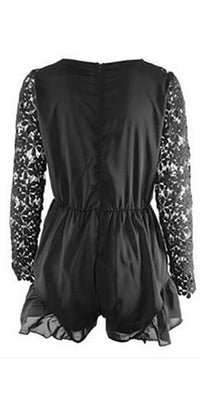 White Black Sheer Lace Long Sleeve Cross Wrap V Neck Elastic Waist Ruffle Short Romper - Sold Out