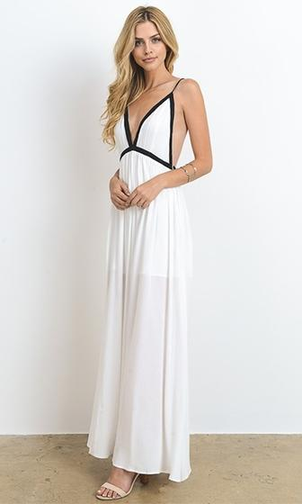 It's A Breeze White Black Spaghetti Strap Plunge V Neck X Back Side Slit Maxi Dress - Sold Out