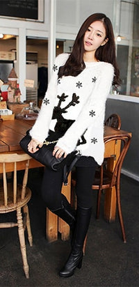 White Black Reindeer Snowflake Crew Neck Long Sleeve Pullover Christmas Sweater - Ships on or Before Dec 1st !! - Sold Out