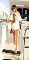 White Black One Shoulder Ruffle Cut Out Side One Piece Swimsuit - Sold Out