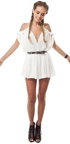 Garden Party White Spaghetti Strap V Neck Cut Out Shoulder Ruffle Trim Short Romper - Sold Out