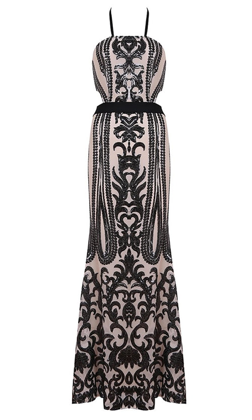 Got To Be Real White Black Sequin Sleeveless Spaghetti Strap Halter Cut Out Maxi Dress