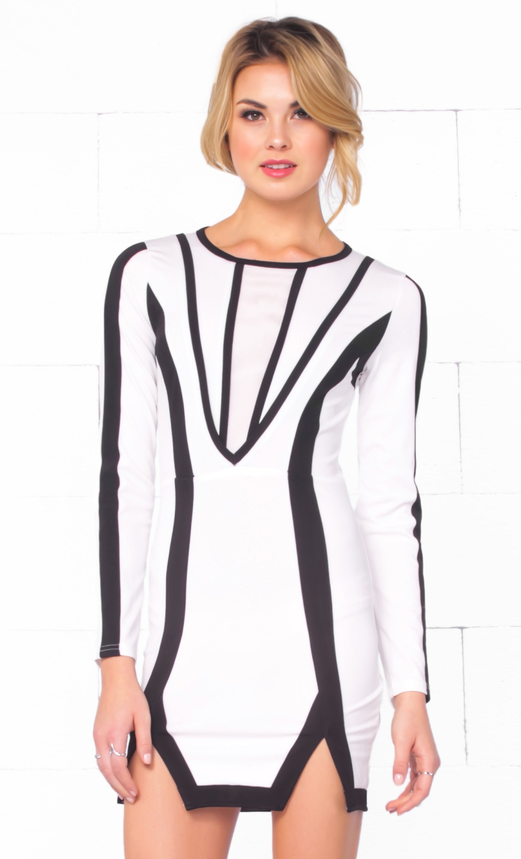 Indie XO Love Fool White Black Scoop Neck Long Sleeve Contrast Slit Hem Bodycon Mini Dress - Just Ours! - Sold Out