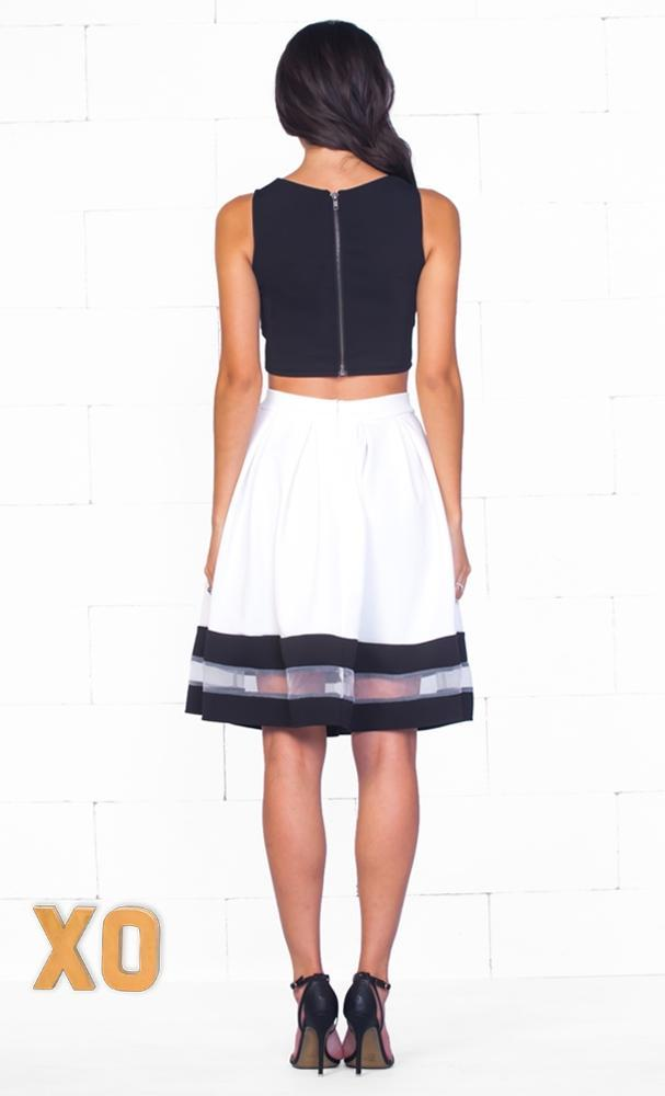 Indie XO Country Club White Black Sleeveless V Neck Cut Out Crop Top Sheer Mesh Stripe A Line Flare Midi Skirt Two Piece Dress - Just Ours! - Sold Out