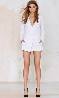 How Will I Know White Long Sleeve Plunge V Neck Blazer Jacket Short Romper - Sold Out