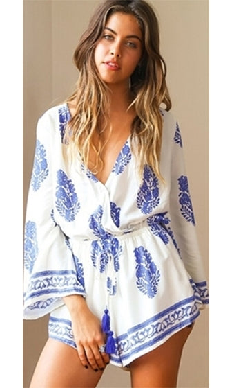 Off White Blue Floral Geometric Long Bell Sleeve Cross Wrap V Neck Short Romper - Sold Out