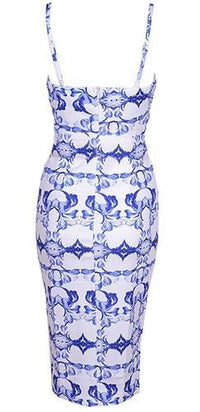 White Blue Baroque Spaghetti Strap Cut Out V Neck Bodycon Midi Dress - Sold Out