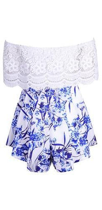 White Blue Floral Off The Shoulder Scallop Lace Pleated Short Romper - Sold Out