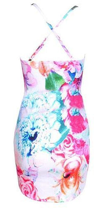 White Blue Pink Purple Green Floral Spaghetti Strap Cut Out V Neck X Back Bodycon Mini Dress - Sold Out