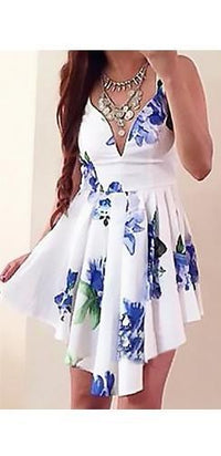 White Blue Green Floral Spaghetti Strap V Neck Skater Circle A Line Flare Mini Dress- Sold Out