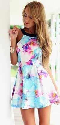 Fantasy Fleur White Blue Purple Pink Yellow Black Sleeveless Scoop Neck Halter Skater Circle A Line Flare Mini Dress - Sold Out
