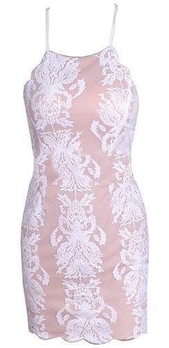 All My Loving White Biege Lace Spaghetti Strap Scoop Neck X Back Halter Bodycon Mini Dress - Sold Out