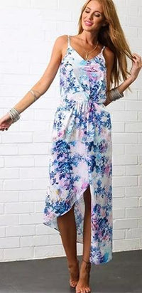 White Blue Pink Green Floral Spaghetti Strap V Neck Asymmetric Maxi Dress - Sold Out