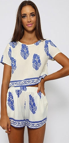 Grecian Isles White Blue Floral Geometric Short Sleeve Scoop Neck Top Shorts Two Piece Romper - Sold Out