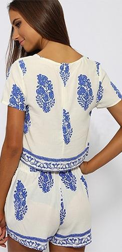 638092411401 Grecian Isles White Blue Floral Geometric Short Sleeve Scoop Neck Top  Shorts Two Piece Romper -