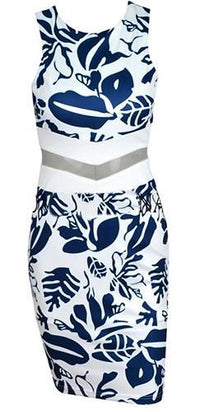 White Blue Leaf Sheer Sheer Mesh Cut Out Sleeveless Scoop Neck Bodycon Midi Dress - Sold Out