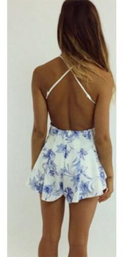 768789065480 Fearless Flirt White Blue Lace Floral Sleeveless V Neck Backless Short  Romper - Sold Out