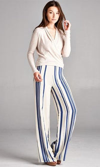 By The Bay White Blue Vertical Stripe Nautical Wide Leg Palazzo Pants - Sold out