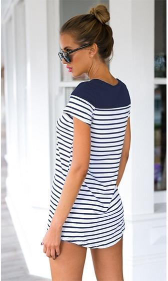 Naughty In Nantucket White Blue Horizontal Stripe Sleeve Crew Neck Tunic Tee Shirt -  Sold Out