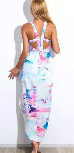 Hawaii Heat White Pink Blue Tropical Floral Sleeveless Scoop Neck Halter Cross Wrap Cut Out Maxi Dress - Sold out