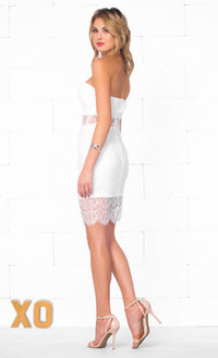 Indie XO Angel's Kiss White Sweetheart Neck Strapless Bustier Top Sheer Eyelash Lace Bodycon Mini Dress - As Seen on Georgia Kousoulou - Sold Out