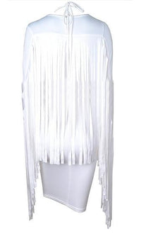 Urban Legend White Long Sleeve Plunge V Neck Crisscross Fringe Back Bodycon Midi Dress - Sold Out