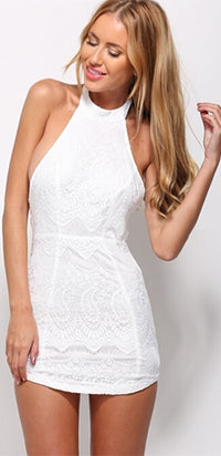 White Lace Sleeveless Scoop Neck Halter Bodycon Mini Dress  -  Out of Stock!!